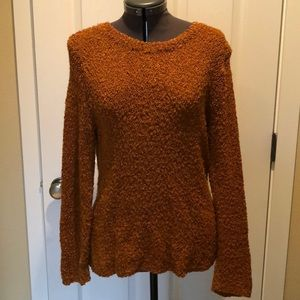Gold long sleeve textured crew neck sweater